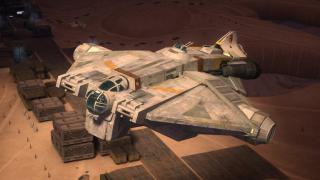 """VCX-100 - gdy Han gra w Sabacca z Lando stawia swojego VCX-100, który jest dokładnie tym samym modelem statku, którym latają bohaterowie """"Star Wars: Rebeliantów"""""""
