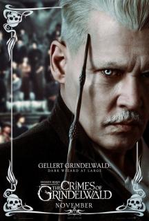 Gellert Grindelwald i Czarna Różdżka. W dole symbol Insygniów Śmierci