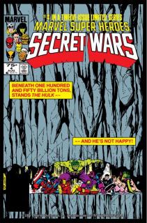 """W pewnym momencie Hulk trzyma na swoich barkach zapadającą się siedzibę Avengers, by chronić innych Mścicieli – podobnie uczynił na okładce zeszytu komiksowego """"Secret Wars #4""""."""