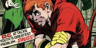 Green Arrow i Green Lantern odnajdują odurzonego narkotykami Roya Harpera aka Speedy'ego (Snowbirds Don't Fly)