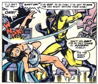 Hank Pym aka Ant-Man policzkuje swoją żonę, Janet van Dyne aka Wasp