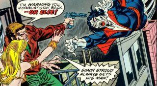 W jednej z historii X-Meni obwinili Spider-Mana za porwanie dawnego przyjaciela Charlesa Xaviera, Hansa Jorgensona. Ostatecznie okazało się, że uprowadził go Morbius, któremu przyszło zmierzyć się z całą armią mutantów. Walka ta była jedną z ostatnich, w których Morbiusa ukazano jego złoczyńcę – od tej pory postanowił on działać na własną rękę, pomagając wielu napotkanym osobom.