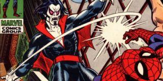 W swojej pierwszej historii Morbius udał się do USA na pokładzie statku, by w czasie podróży zabić całą załogę – złoczyńca wyssał z nich krew. Próbując się następnie zabić, trafił on na plażę, na której po raz pierwszy spotkał Spider-Mana. Człowiek Pająk próbował wówczas zlikwidować dodatkowe 6 ramion. Po walce z Morbiusem Pajączek i Lizard doszli do wniosku, że jego krew może im pomóc w walce z własnymi defektami cielesnymi – Lizard ostatecznie zamienił się w człowieka, a Spider-Man stracił dodatkowe 6 ramion.