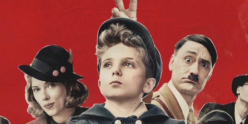 Jojo Rabbit - gwiazdorska obsada na plakacie filmu. Waititi jako Hitler