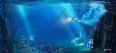 Star Wars 9 - szkice koncepcyjne. Rey i Sokół Millennium pod wodą przy Gwieździe Śmierci