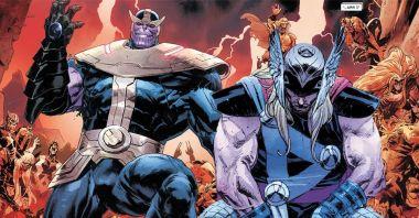 Marvel - potężny Thanos ma Mjolnir ubzrojony w [SPOILER] i nową Rękawicę! Thor masakruje Galactusa!