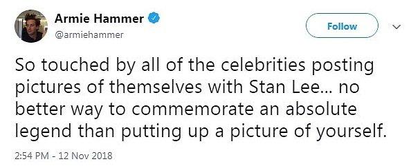 Armie Hammer po śmierci Stana Lee - krytyka